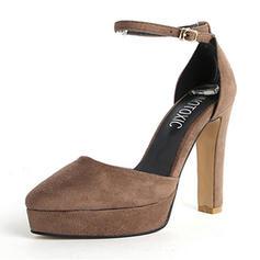 Femmes Suède Talon bottier Escarpins Plateforme Bout fermé avec Boucle chaussures