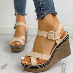 Femmes Suède Talon compensé avec Boucle chaussures