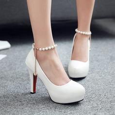 Women's Leatherette Stiletto Heel Closed Toe Platform Pumps With Imitation Pearl