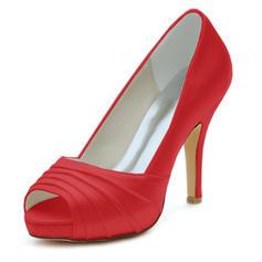 Women's Silk Like Satin Stiletto Heel Peep Toe Pumps