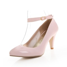 Women's Patent Leather Cone Heel Pumps Closed Toe With Buckle shoes