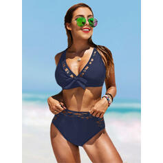 Solid Color High Waist Strap V-Neck Sexy Boho Bikinis Swimsuits