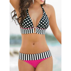 Dot Stripe Halter Sexy Elegant Bikinis Swimsuits