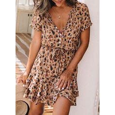 Leopard Short Sleeves A-line Above Knee Casual/Vacation Dresses
