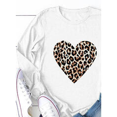 luipaard Ronde Hals Lange Mouwen Casual T-shirts