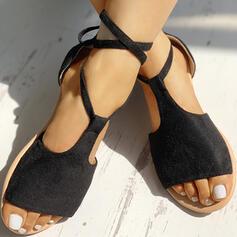Dla kobiet Zamsz Płaski Obcas Sandały Otwarty Nosek Buta Z Sznurowanie obuwie