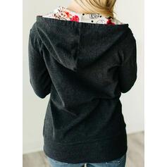 Nadruk Kwiatowy Bluza z kapturem Długie rękawy Bluza z kapturem