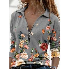 Print Blomster Lapel Lange ærmer Casual Skjorter