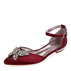 Femmes Similicuir Talon plat Bout fermé Chaussures plates avec Cristal