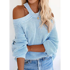 Solid Ribbet Cold shoulder Casual Gensere