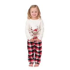 Reindeer Plaid Cartoon Family Matching Christmas Pajamas