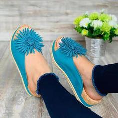 Kvinder PU Flad Hæl sandaler Fladsko Kigge Tå med Blomst sko