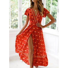 Print Short Sleeves A-line Casual/Boho/Vacation Maxi Dresses