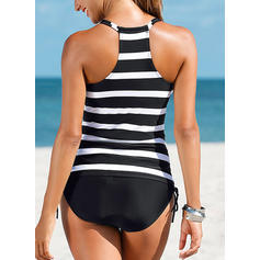 Stripe U Neck Classic Tankinis Swimsuits