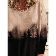Drucken Wald V-Ausschnitt Lange Ärmel Freizeit T-shirts