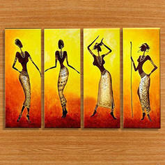 Modern Rectangle Wall Stickers Set of 4