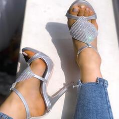Femmes PU Talon stiletto Sandales avec Strass chaussures