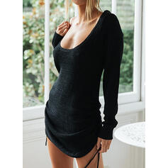 Solid Round Neck Casual Sexy Sweater Dress