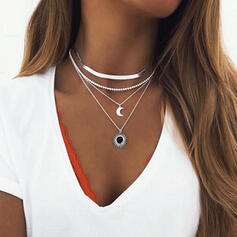 Boho Layered Alloy With Moon Sun Necklaces (Set of 3)