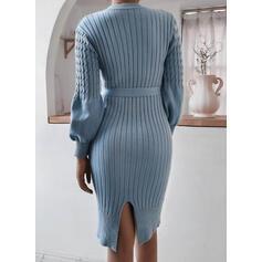 Jednolity Okrągły dekolt Casual Długie Dopasowany Sukienka sweterkowa