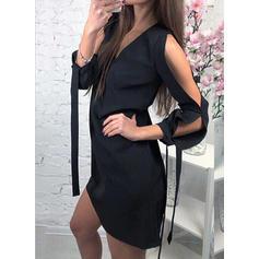 Jednolita Długie rękawy/Odkryte ramię Koktajlowa Nad kolana Mała czarna/Casual Sukienki
