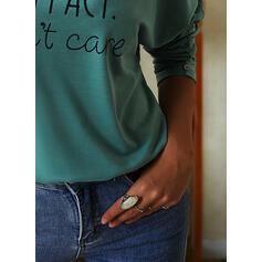 Print Letter V-Neck Long Sleeves Casual Blouses