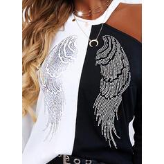 Print Color Block One Shoulder Long Sleeves Cold Shoulder Sleeve Casual Blouses
