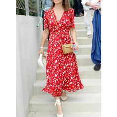 Nadrukowana/Kwiatowy Krótkie rękawy W kształcie litery A Okrycie/Łyżwiaż Casual/Elegancki Midi Sukienki