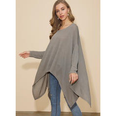 Solid Round Neck Batwing Sleeve Long Sleeves Casual Blouses