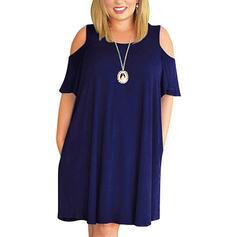 プラスサイズ 固体 半袖 シフトドレス 膝上 カジュアル リトルブラックドレス ドレス