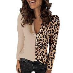 Colorblock λεοπάρδαλη V-nyak Hosszú ujjú Hétköznapokra Μπλούζες