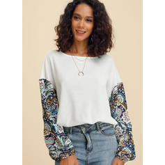 Print Patchwork Round Neck Long Sleeves Casual Blouses