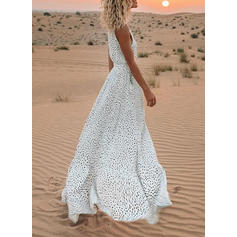 Lace/PolkaDot Sleeveless A-line Maxi Casual/Vacation Dresses