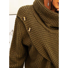 Solid Chunky knit Stand Collar Casual Cardigan