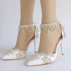 Women's Leatherette Spool Heel Closed Toe Pumps With Tassel Crystal