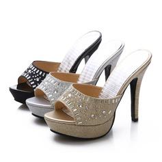 De mujer Cuero Brillo Chispeante Tacón stilettos Sandalias Salón con Crystal zapatos