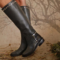 Women's PU Chunky Heel Knee High Boots Snow Boots With Rivet Zipper shoes