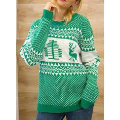 Kvinner Polyester Print Kabel Strikk Klumpete strikke Reinsdyr Ugly Christmas Sweater