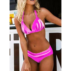 Stripe Print Push Up Halter Sexy Bikinis Swimsuits