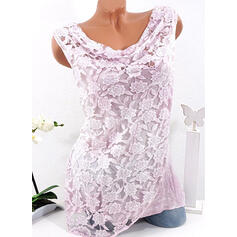 Lace V-Neck Sleeveless Casual Tank Tops