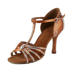 Women's Latin Heels Sandals Satin With Rhinestone T-Strap Latin