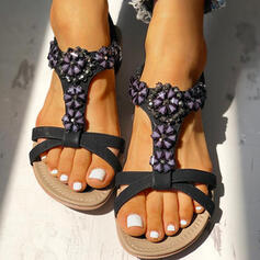 Низька підошва Сандалі взуття на короткій шпильці з Сіяючі камені Квітка взуття
