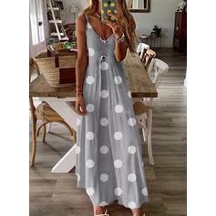 PolkaDot Sleeveless A-line Casual/Vacation Maxi Dresses
