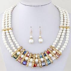Gorgeous Alloy Rhinestones Imitation Pearls With Imitation Pearl Rhinestone Ladies' Jewelry Sets