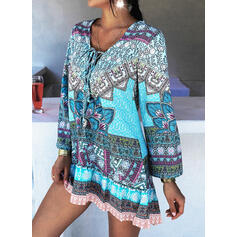 Print V-Neck Elegant Plus Size Vacation Cover-ups Swimsuits