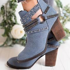 Women's PU Chunky Heel Ankle Boots With Sequin shoes