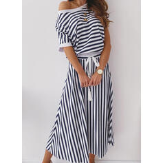 Striped 1/2 Sleeves A-line Skater Casual/Vacation Midi Dresses