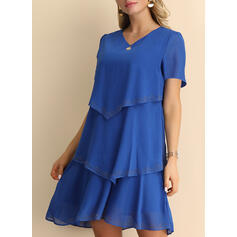 Solid Short Sleeves Shift Above Knee Dresses