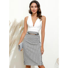 Striped Sleeveless Bodycon Knee Length Party/Elegant Dresses