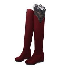 Mulheres Camurça Plataforma Bota em cima do joelho sapatos